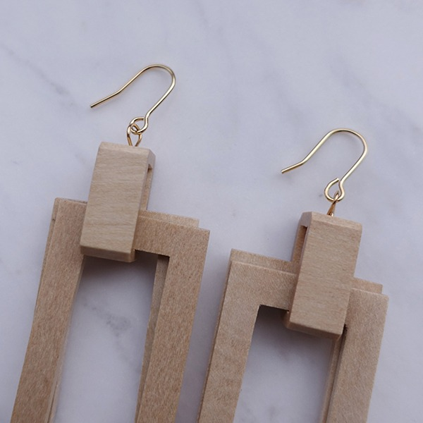 Rectangular wood Earring #522